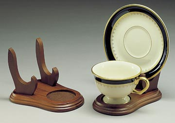 Cup and Saucer Holders Set of 12 - Wood - Tea Cup and Plate Stand