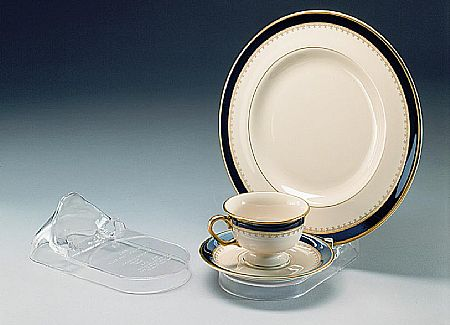 Cup and Saucer Plate Displays - 3 Piece Setting - 6 pack