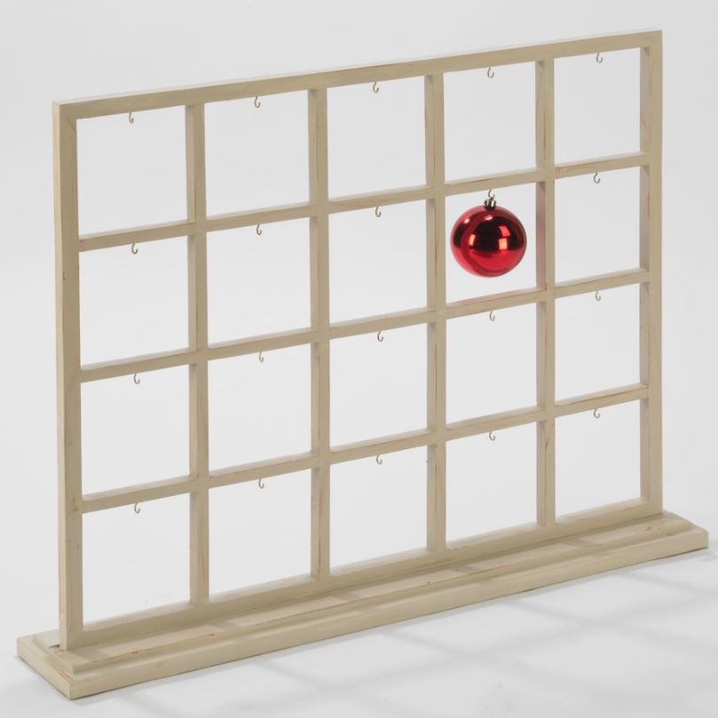 Ornament Display Frame - Divided Window with 20 Hooks