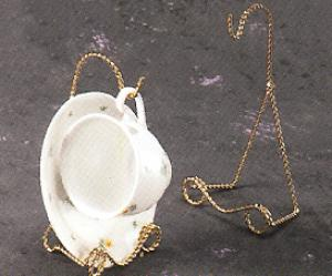 Cup and Saucer Stands - Victorian Twisted Brass - set of 6