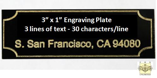 "Engraving Plate - Gold Lettering on Black Plate - 3"" x 1"""