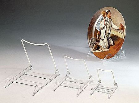 Plate Easels - Vinyl Coated White - Hinged Lucite Base- Set of 12