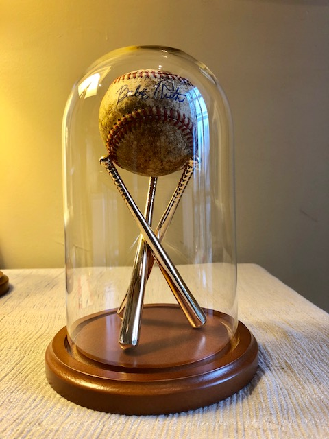 "Baseball Display Dome - 4-1/2"" x 8"" with Brass Stand"