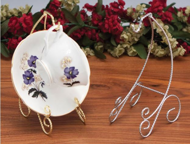 Cup and Saucer Stands - Twisted Wire Scroll - Set of 12