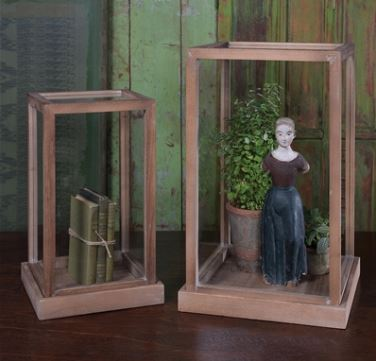 Doll Cases - Set of Two Wood and Glass Cases