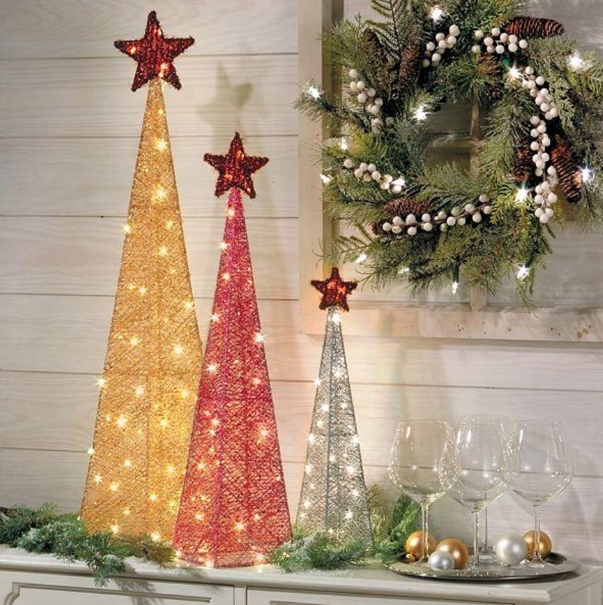 Lighted Display Trees Glittered Christmas Tree Set