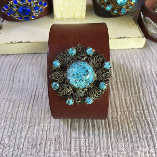 MADE IN THE DEEP SOUTH - Light Brown Cuff - Turquoise Flower