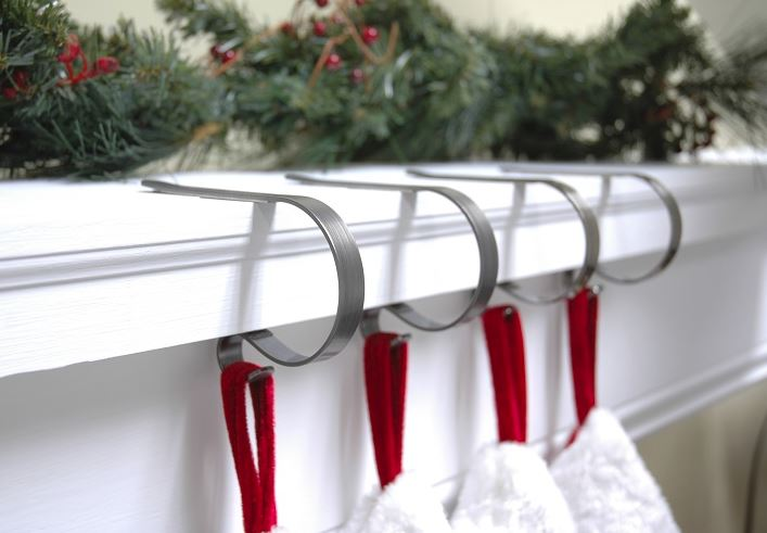 MantleClip Stocking Hangers - Pewter - Set of 4