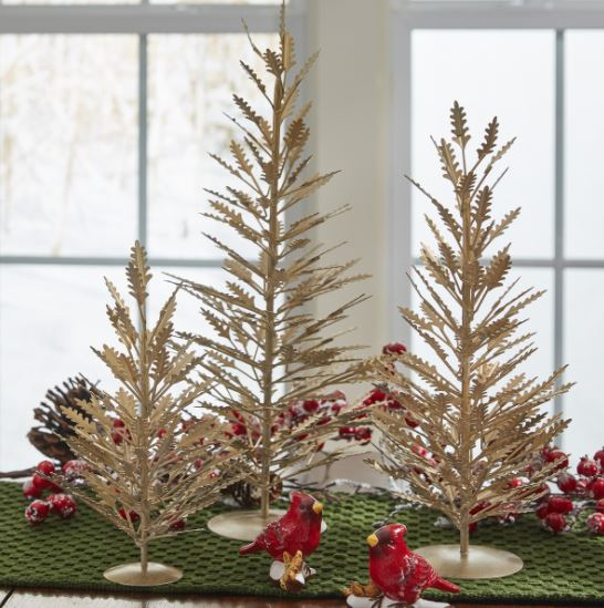 Display Trees- Gold Metal Trio