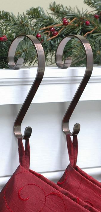Stocking Scroll Hangers - Oil Rubbed Bronze - Set of 2