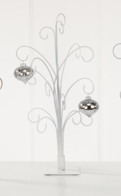 Ornament Trees - White Metal Ornament Stands - Set of 2