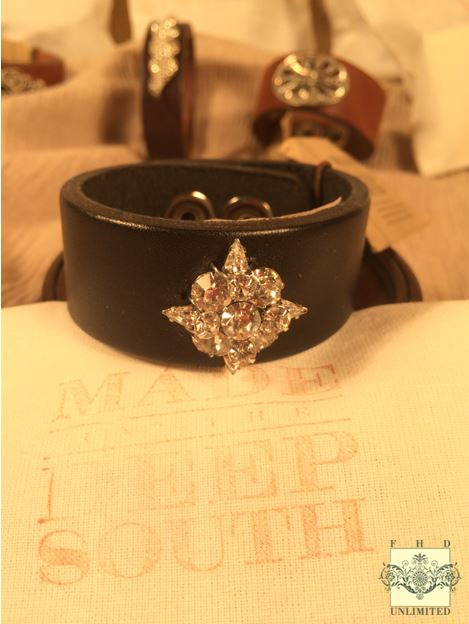MADE IN THE DEEP SOUTH - Black Leather Cuff Bracelet - Starburst