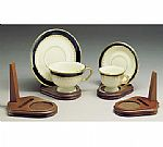 Cup and Saucer Holders - Wood - Teacup and Plate Stand - Set of 12